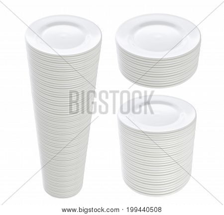 Big stack of clean plates isolated on white background