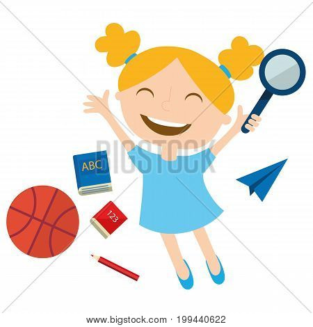 Happy schoolgirl jumping with a magnifying glass.