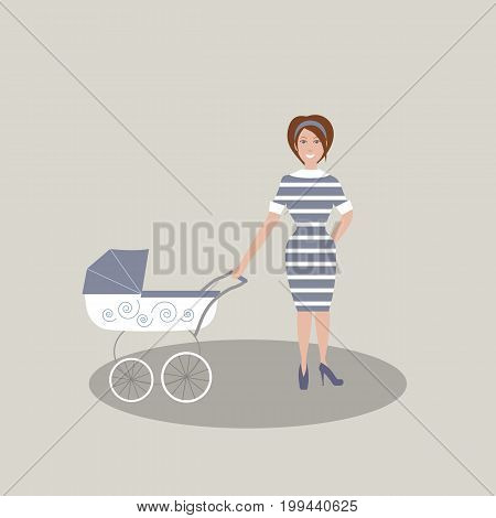 Cute young mother in dark blue dress with white stripes and shoes with high heels. A baby carriage. Gray background. Vector illustration