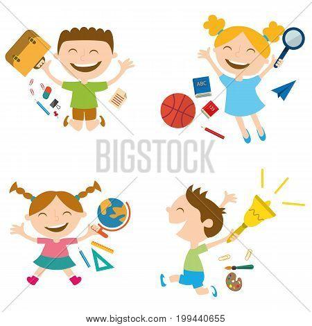Set of happy schoolchildren with school accessories.