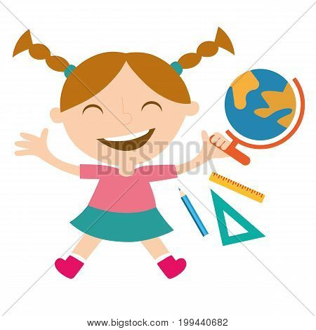 Happy schoolgirl with the school globe, triangle, ruler and pencil.