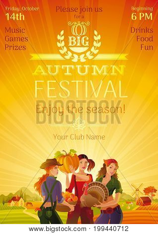 Autumn harvest festival invitation design. Fall thanksgiving party, beautiful idyllic country landscape background, field, cute farmer girls, turkey, pumpkin. Logo text lettering. Vector illustration.