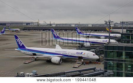 Aircrafts At Haneda Airport In Tokyo, Japan