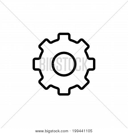 Thin Line Settings Gear Icon On White Background