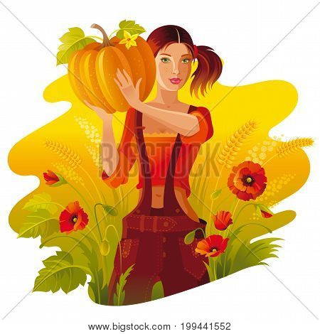 Autumn thanksgiving landscape background. Young woman with harvest - pumpkin, vegetable. Fall field countryside, poppy flowers. Harvesting festival banner. Seasonal greeting vector illustration