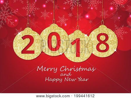 Merry Christmas and happy new year hanging 2018 number glitter balls on shiny red background.
