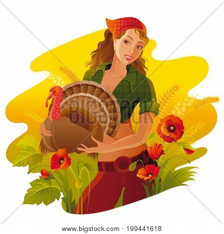 Autumn thanksgiving landscape background. Young smiling woman with turkey bird. Fall field countryside, poppy flower. Harvest festival thanks giving banner. Seasonal greeting vector illustration