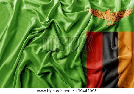 Ruffled waving Zambia flag national flag close