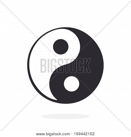 Vector illustration. Silhouette of Yin and Yang symbol of harmony and balance. Isolated on white background