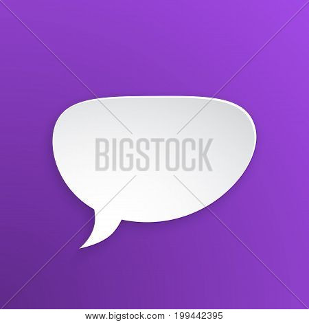 Vector illustration. Comic speech bubble for talk crooked at oval shape in paper version. Empty shape in flat style for chat dialogs. Isolated on violet background