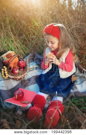 Little girl on nature with a basket of fruit and books