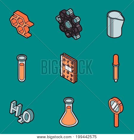 Chemical color outline isometric icons. Vector illustration, EPS 10