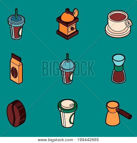 Coffee colored outline isometric icons. Coffee design. Vector illustration, EPS 10