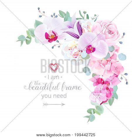 Delicate floral crescent shaped vector frame with white peony, orchid, pink rose, violet bellflower, hydrangea, eucalyptus. Wedding stylish bouquet.Template card. All elements are isolated and editable