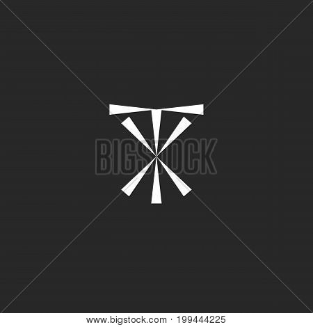 Initials TX logo mockup, typography XT emblem hipster design element template, modern letters symbols T and X together