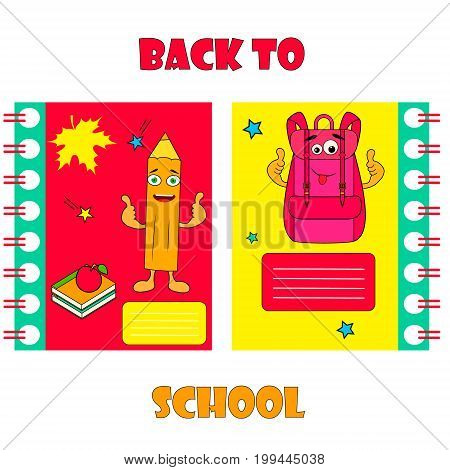 Set of notebook covers with funnyvbackpack and pencil