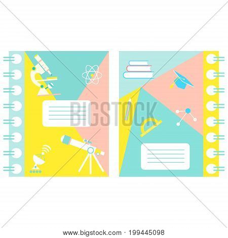 Set of notebook covers with science and education theme