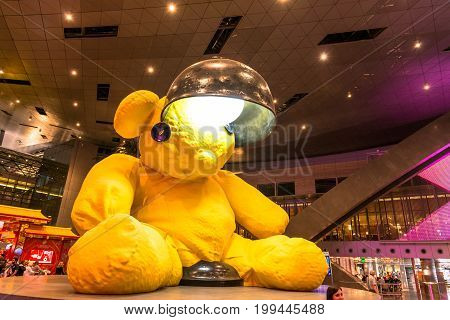 DOHA QATAR - FEBRUARY 27 2016: Decoration at the main hall of Hamad International Airport in Doha Qatar.