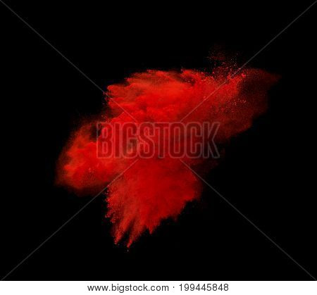 Colorful powder explosion isolated on black background.