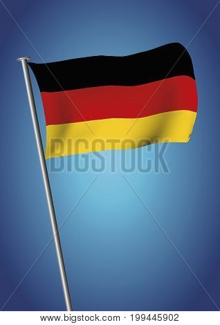 Germany Flag Waving On The Sky Vector Vertical
