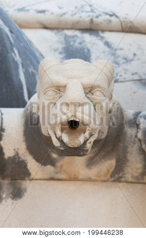 Gargoyle at the Cemetary of Supetar in island of Barc