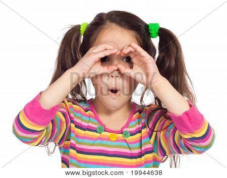 Little Girl Looking Through Imaginary Binocular