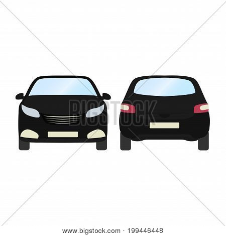 Car vector template on white background. Business hatchback isolated. black hatchback flat style.front and back view.