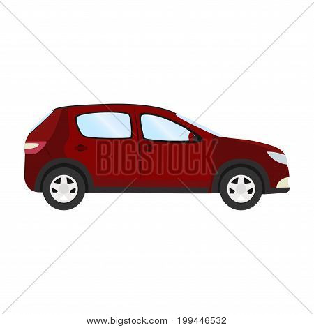 Car vector template on white background. Business hatchback isolated. red hatchback flat style. side view.
