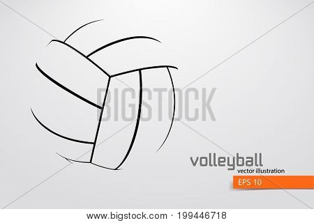Silhouette of volleyball ball. Background and text on a separate layer, color can be changed in one click. Vector illustration.