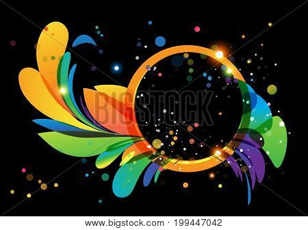 Multicolored abstract with circle frame on black background