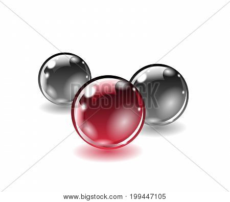 Three balls of different colors on a white background. Gradient mesh not used. Vector illustration