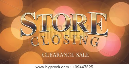 Store closing sale vector illustration, background. Template banner, flyer for clearance sale during shop closing down
