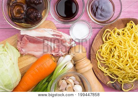 Ingredient for cooking Yakisoba / Cooking Yakisoba concept
