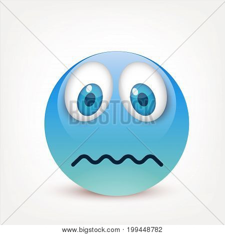 Smiley with blue eyes, emoticon. Blue face with emotions. Facial expression. 3d realistic emoji. Sad, happy, angry faces.Funny cartoon character.Mood.Vector illustration.