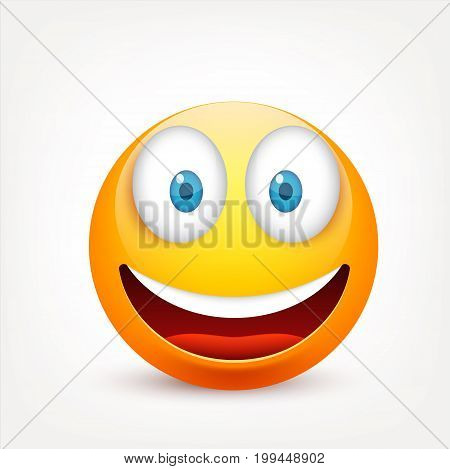 Smiley with blue eyes, emoticon. Yellow face with emotions. Facial expression. 3d realistic emoji. Sad, happy, angry faces.Funny cartoon character.Mood.Vector illustration.