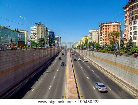 Almaty Kazakhstan - July 31 2017: View from Al-Farabi avenue it is one of the main roads in the city of Almaty