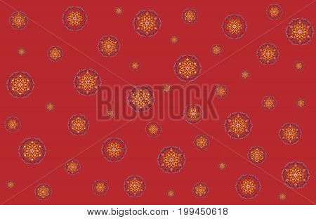 Abstract ethnic ornament. Christmas vector illustration with snowflakes on red. Bright festive pattern is perfect for packaging paper, wrapping packages, greeting card and background. Horizontal.