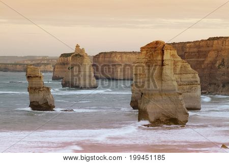 Evening at the twelve Apostles along the famous Great Ocean Road in Victoria, Australia.