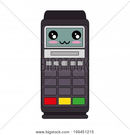 Dataphone electronic device kawaii cartoon icon vector illustration graphic design