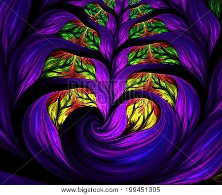 Computer generated fractal artwork with colorful flower ear