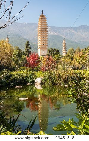 Three Pagodas at Dali China travel destination and famous place in Yunnan