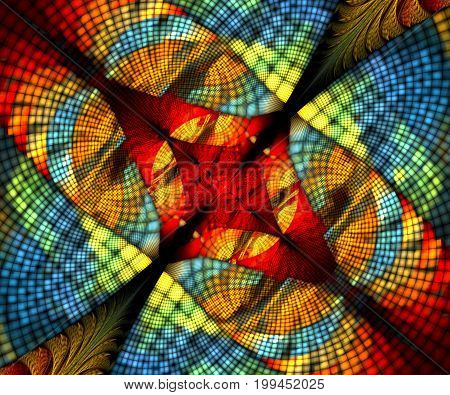 Computer generated fractal artwork with pixelized bipolar image