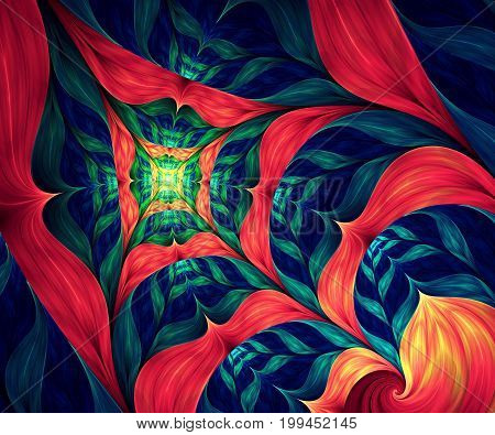 Computer generated fractal artwork with colorful web