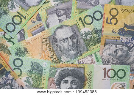 close up of Australian dollar bills finance currency and business concept