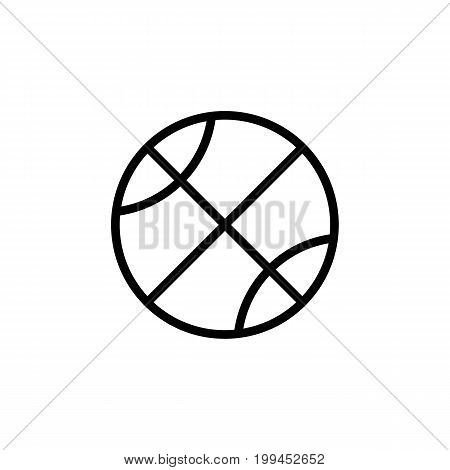Thin Line Basketball Icon On White Background