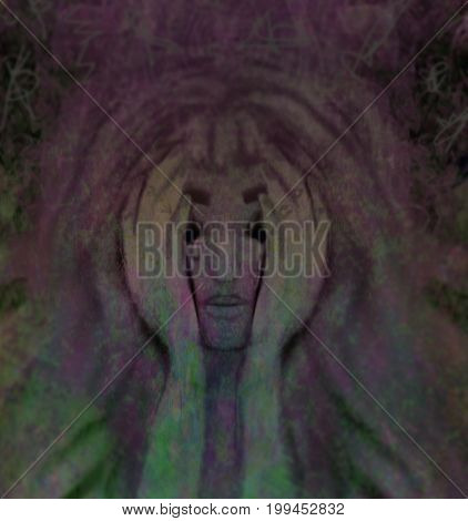 Depression girl cried abstract darkness card , raster