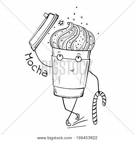 Vector character mocha cup, takeaway coffee, coffee to go. Smiling cup of coffee.