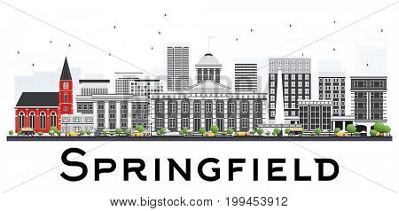 Springfield Skyline with Gray Buildings Isolated on White Background. Business Travel and Tourism Concept. Image for Presentation Banner Placard and Web Site.