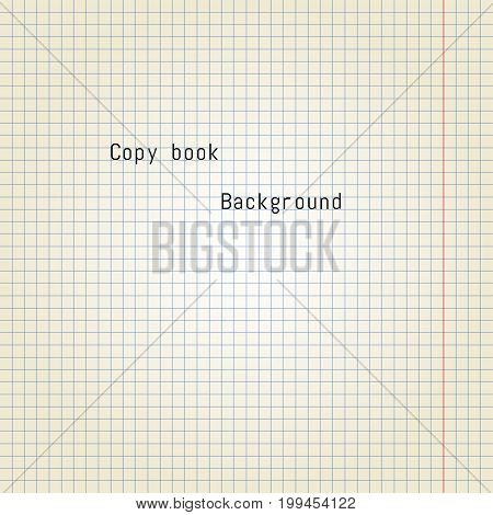 Old copy book paper background. Vector Illustration.