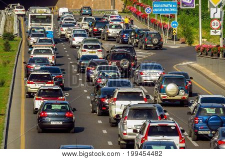 Almaty Kazakhstan - July 21 2017: Traffic jam in the rush hour on Al-Farabi avenue it is one of the main roads in the city of Almaty